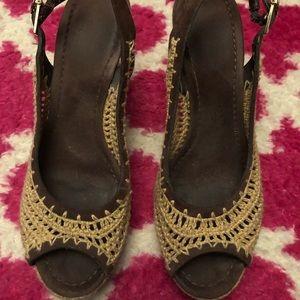 Tory Burch Straw Platform Wedge Sandals